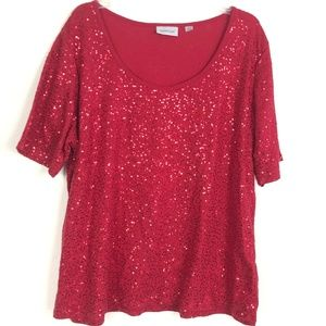 Avenue Red Sparkly Sequin Short Sleeve Top PK